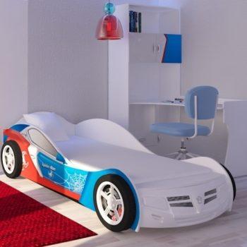 Кровать машина Спайдермэн белая