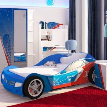 Кровать машина Спайдермэн синяя