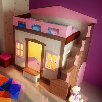 Двухъярусная кровать домик FT Home 1 ledi (цвета разные)