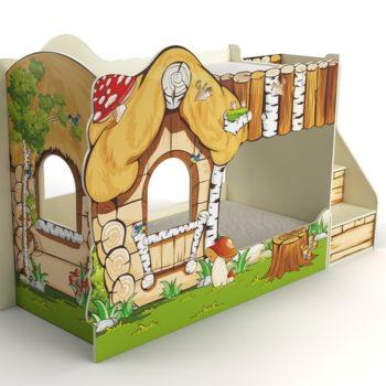 Двухъярусная кровать домик Русская сказка