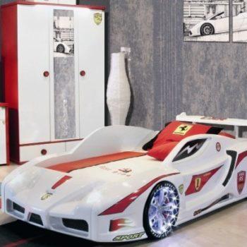 Кровать машина Феррари Формула (красная, белая)
