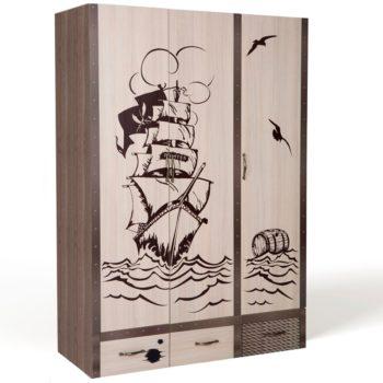 Детский трехдверный шкаф Pirates 1 (4 цвета)